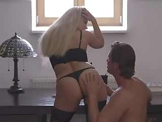 Babe, Ball Licking, Big Cock, Blonde, Blowjob, Couple, Desk, Erotic, Fingering, Foreplay,