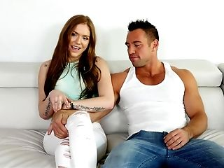 American, Anal Sex, Babe, Couch, Fingering, First Timer, Ginger, Licking, Long Hair, Natural Tits,