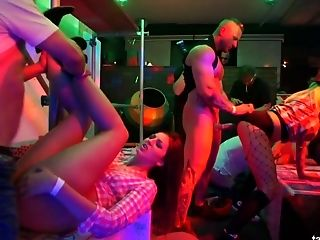 Ass, Blonde, Blowjob, Boots, Brunette, Club, Cowgirl, Cumshot, Dancing, Group Sex,