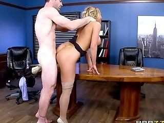 Big Tits, Blonde, Desk, Face Fucking, Fingering, Hardcore, Missionary, Moaning, Office, Pornstar,