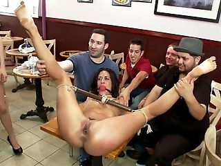 Abuse, Bondage, Brunette, Desk, European, Gangbang, Group Sex, Hardcore, Humiliation, Public,