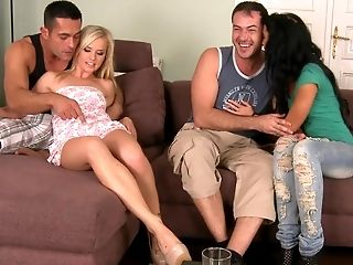 Blonde, Brunette, Couch, Cute, Dick, European, Ffmm, Foursome, Friend, Group Sex,