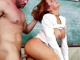 American, Big Ass, Big Tits, Boy, Classroom, Cougar, Cum, Cumshot, Desk, Facial,