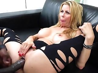 Ass, Big Black Cock, Big Tits, Black, Blonde, Blowjob, Cum In Mouth, Cumshot, Doggystyle, Fake Tits,