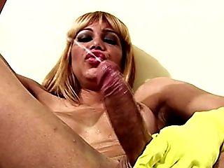 Big Cock, Big Tits, Gloves, Handjob, HD, Latina, Masturbation, Rough, Rubber, Shemale,