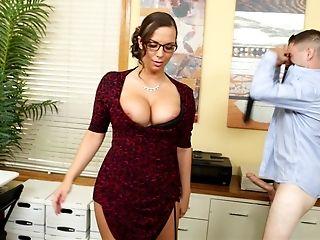 American, Babe, Big Tits, Bold, Brunette, Clothed Sex, Cougar, Desk, Glasses, Hardcore,